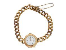 Armbanduhr: goldene Damenarmbanduhr, um 1910, 18K/14K GoldCa. Ø24mm, ca. 32g, Gehäus