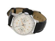 Armbanduhr: attraktiver Stahl-Chronograph, Baume & Mercier Geneve, 50er-JahreCa. Ø34m