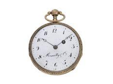 Taschenuhr: große silberne Spindeluhr mit Repetition, signiert Romilly & Cie, ca. 1800<br /