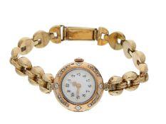 Armbanduhr: Damenuhr um 1900 (und später) mit Diamantbesatz, Gehäusepunze Ph. Wolf/Fabrique Au