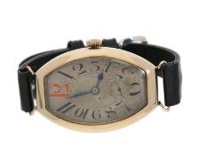 "Armbanduhr: sehr frühe ""oversize"" Tonneau Armbanduhr in Rotgold, Les Fils Braunschweig/Election"