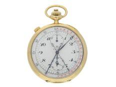 Taschenuhr: hochfeiner und sehr seltener goldener Longines Schleppzeigerchronograph mit Register