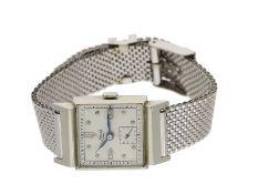 Armbanduhr: ungewöhnliche Herrenarmbanduhr aus der Zeit um 1950,14K Weißgold, Marke Louis, ame