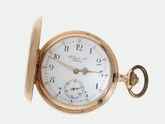 Taschenuhr: interessante goldene Savonnette, 14K Gold, signiert A. Eppner & Co. Silberberg, ca.
