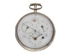 Taschenuhr: große, feine Spindeluhr mit Zentralsekunde, Datum und Wochentag sowie Emaille-Maler