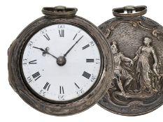 Taschenuhr: frühe, silberne Repoussé Doppelgehäuse-Spindeluhr, signiert Edward Pamer London N