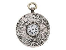 """Taschenuhr: rare Taschenuhr mit """"Knopfloch-Zifferblatt"""" und seltenem Münzgehäuse """"St. Georg"""","""