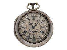 Taschenuhr: ausgesprochen schöne, frühe englische Champlevé Doppelgehäuse-Spindeluhr, John J