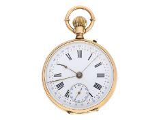 Taschenuhr: interessante, frühe goldene Genfer Kalender-Uhr mit zentralem Zeigerdatum und Präz