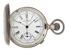 Pocket watch: rare early American pocket watch with chronograph, Waltham, ca. 1886