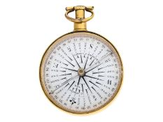 Taschenbarometer/Thermometer/Kompass: Konvolut aus einem Taschenbarometer und einem Taschenkompa
