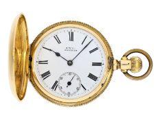 Taschenuhr: schwere, frühe amerikanische Goldsavonnette in seltener 18K Ausführung, Waltham No