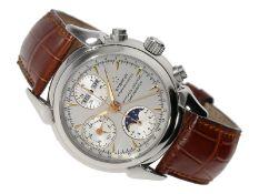 Armbanduhr: äußerst eleganter, astronomischer Stahl-Chronograph in Chronometerqualität, Etern