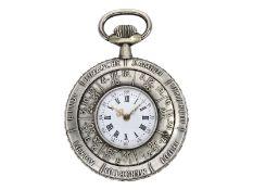 Taschenuhr: sehr seltene Taschenuhr mit beidseitigem, manuellen Jahreskalender, Frankreich um 19