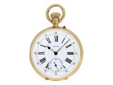 Taschenuhr: frühe Taschenuhr mit Kronenaufzug und besonders schönem Gehäuse, signiert Pateck