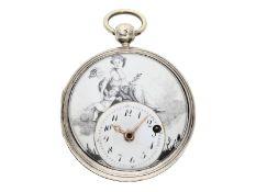 """Taschenuhr: prächtige Spindeluhr mit """"en grisaille""""-Emaille-Malerei, signiert Du Bois Paris No."""