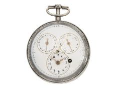Pocket watch: rare verge watch with calendar and centre seconds, probably France around 1800