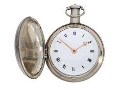 Taschenuhr: beeindruckende, schwere englische Silberuhr mit Rechenankerhemmung, feine Sammlerqua