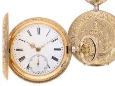 Taschenuhr: außergewöhnliche Prunksavonnette mit einem Goldgehäuse in Ausnahmequalität, J.J.
