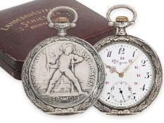 Taschenuhr: seltene Longines Schützenuhr, Bern 1914, mit dazugehöriger schwerer silberner Uhre