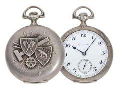 """Taschenuhr: einzigartiges Chronometer mit Jugendstil-Reliefgehäuse, Schuluhr """"Technicum Cantona"""