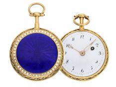 Taschenuhr: sehr schöne Gold/Emaille-Lepine von feiner Qualität, David Frederic Duvernoy a Par