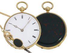Taschenuhr: exquisite Miniatur-Lepine mit Jaspis-Gehäuse, Originalschlüssel und Originalbox, J