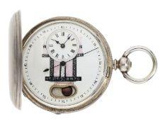 Taschenuhr: seltene Savonnette für den chinesischen Markt mit Scheinpendel und Zentralsekunde,