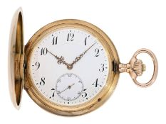 Pocket watch: heavy and large pink gold hunting case watch by IWC Schaffhausen, ca. 1910