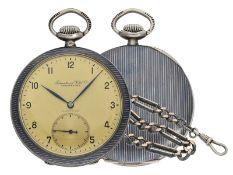 Taschenuhr: äußerst seltene IWC Herrenuhr in Tula-Dekoration mit dazugehöriger Uhrenkette, Do