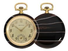 Pocket watch: Art déco dress watch in rare agate gold case, ca. 1925
