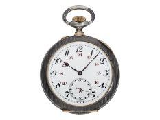 Taschenuhr: hochfeine, große Schuluhr im Niello-Goldgehäuse, Technicum Du Locle, Ankerchronome