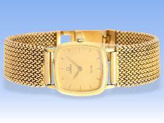Armbanduhr: hochwertige vintage Damenuhr Omega De Ville in 18K GelbgoldCa. 19cm lang,