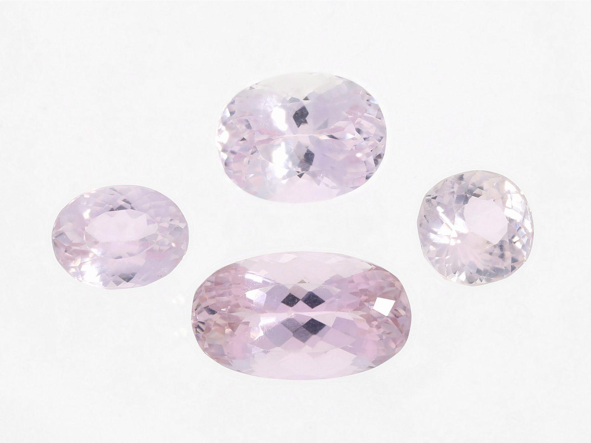 Kunzit: sehr schönes Konvolut pinkfarbener Kunzite, insgesamt ca. 34ct4 Kunzite von h