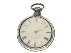 Taschenuhr: große und schwere englische Doppelgehäuse-Spindeluhr, Hallmarks 1831, signiert Edm