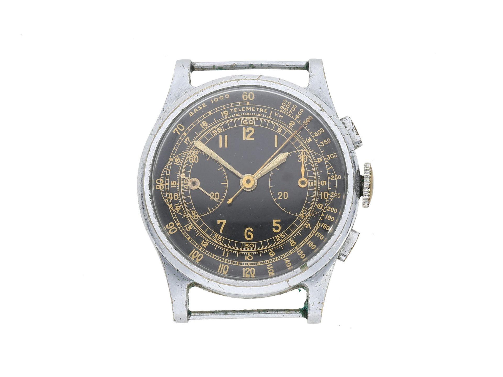 Armbanduhr: attraktiver Stahl-Chronograph mit schwarzem Zifferblatt und goldener Telemeter- und