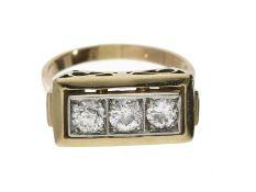 Ring: Art déco Ring mit 3 großen Altschliffbrillanten, ca. 0,85ctCa. Ø18mm, RG56, c