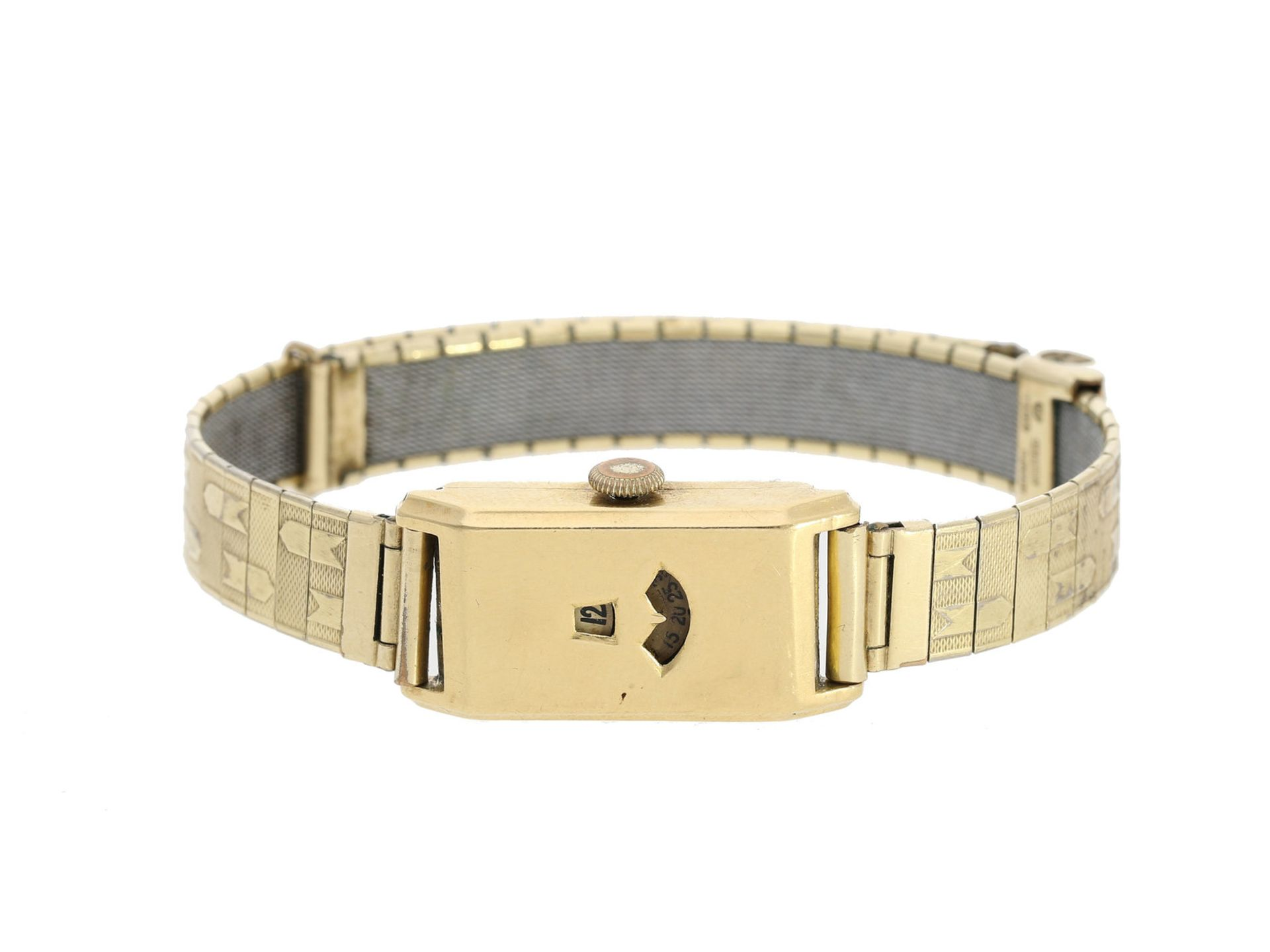 Armbanduhr: seltene, frühe digitale goldene Armbanduhr mit springender Stunde, 30er-Jahre<b