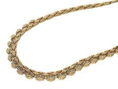 Kette/Collier: handgearbeitetes, sehr ungewöhnliches Goldschmiedecollier, 14K GoldCa.