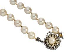 Kette: vintage PerlenketteCa. 45cm lang, Schließe 835er Silber, Zuchtperlen jeweils c