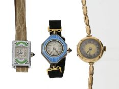 Armbanduhr: interessantes Konvolut von 3 antiken Armbanduhren, ca. 1910-19301. goldene