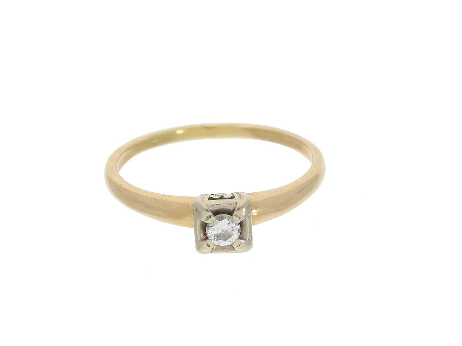 Ring: dekorativer vintage Brillantring, 14K GoldCa. Ø19,5mm, RG61, ca. 2,7g, 14K Gold