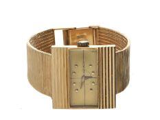 Armbanduhr: ausgefallene vintage Damenuhr der Marke Movado aus 18K Gold, 60er-Jahre, Originalbox