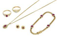 Anhänger/Ring/Ohrschmuck/Armband: sehr schönes Rubin/Diamant-Schmuckkonvolut, 14K und 18K Gold