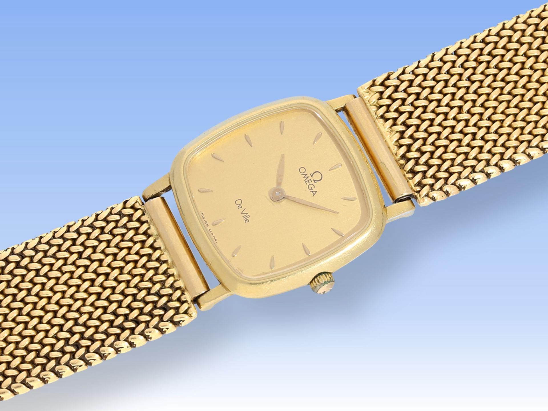 Armbanduhr: hochwertige vintage Damenuhr Omega De Ville in 18K GelbgoldCa. 19cm lang, - Bild 2 aus 2