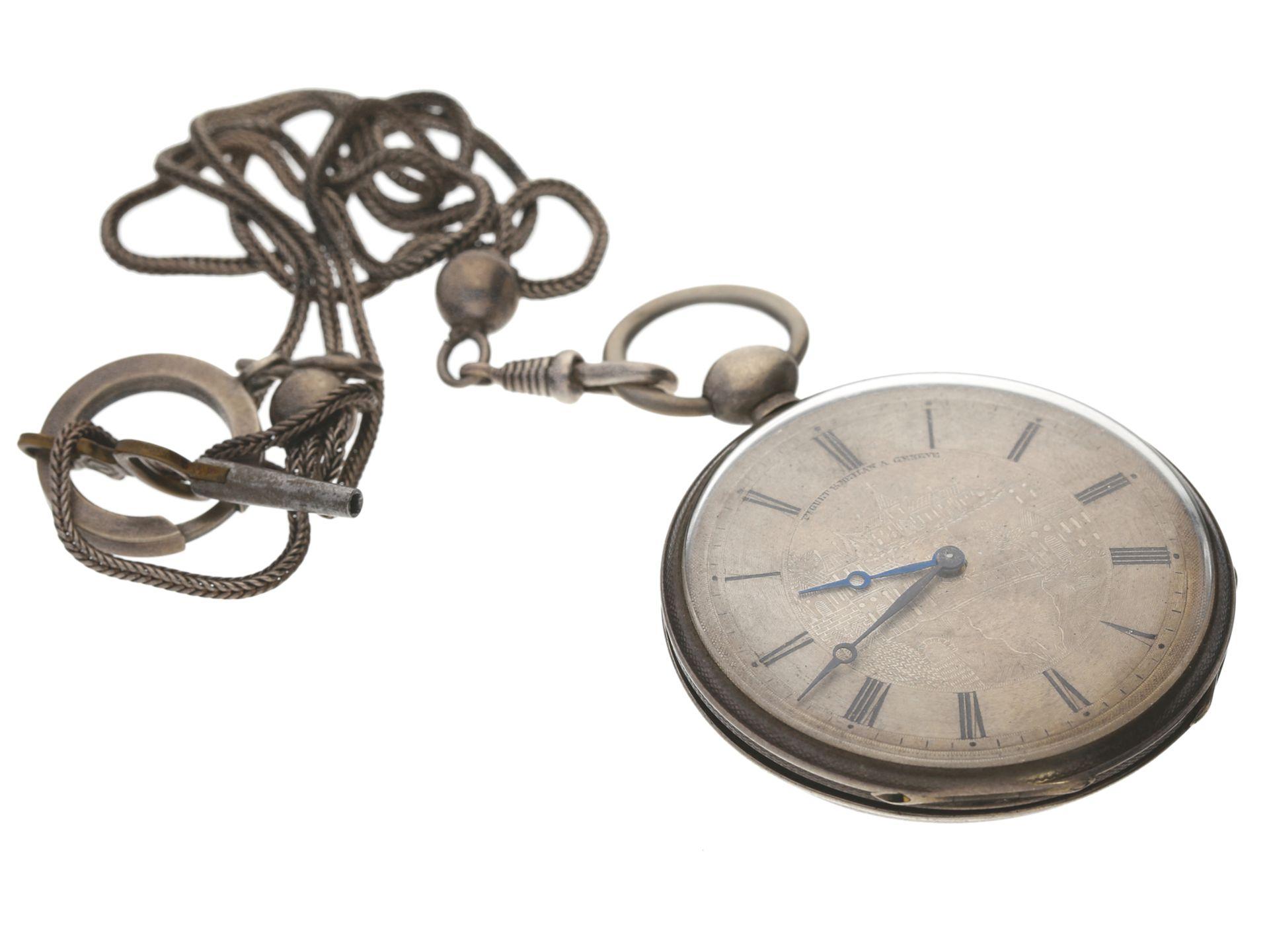Taschenuhr: feine Genfer Lepine mit dazugehöriger Uhrenkette, Piguet & Meylan, um 1840<br /