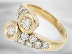 Ring: dekorativer vintage Brillantring mit insgesamt ca. 1,23ct Brillanten, 14K Gold