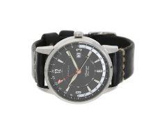 Armbanduhr: große moderne Edelstahl-Designeruhr, Genesis Dual Time