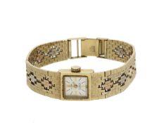 Armbanduhr: ausgefallene, goldene vintage Damenuhr der Marke 'Nava', 14K Gold, Tricolor