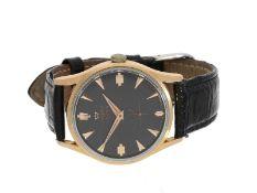 Armbanduhr: seltene vintage Lemania Herrenuhr mit schwarzem Zifferblatt, Ref. 918-3, vermutlich um 1